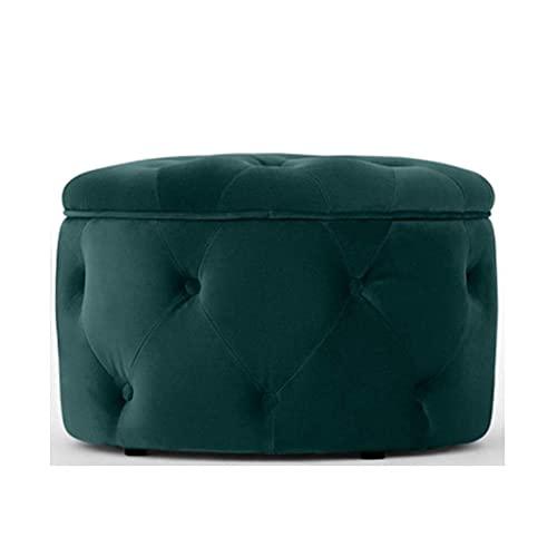 WEIZI Taburete de terciopelo suave para el hogar, sofá, redondo, funda de sofá, suave, lavable sin relleno, para mesa de salón (color: azul aceite)