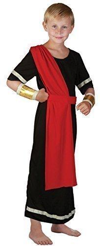 Fancy Me Mädchen oder Jungen Schwarz Rot Römische Toga Schule Kostüm Kleid Outfit 4-14 Jahre - Jungen, 12-14 Years