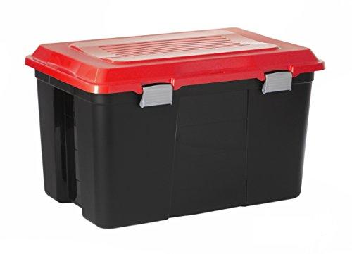 Sundis 4167013 Malle de Rangement Cadenassable Tanker, Plastique, Noir/Rouge, 100L