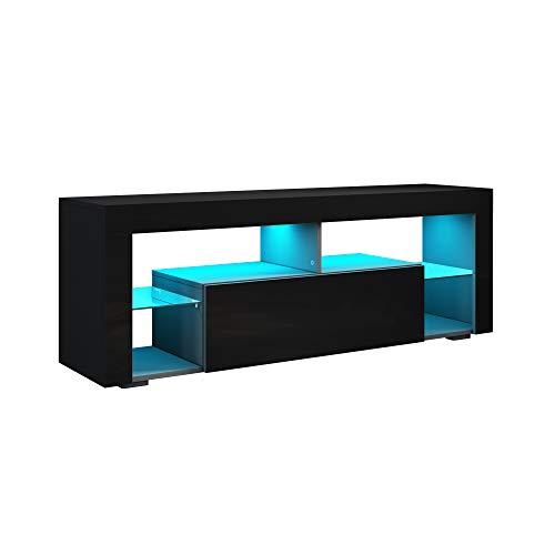 SONNI Lowboard Schwarz, TV Board Hochglanz, mit LED Beleuchtung(12 Farben können eingestellt Werden), mit Klapptür, mit Glasregal, Griffloses Design, 140 x 35 x 50.5 cm