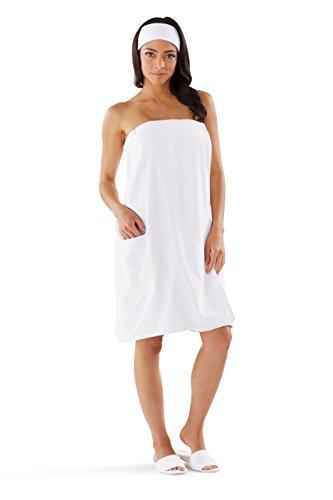 Boca Terry Womens Spa Wrap - Microfiber - Spa, Gym, Bath Towel Wrap - White