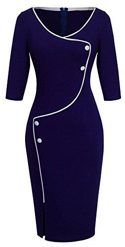 HOMEYEE Frauen Elegante dunkelblaue Knopf Hülsen-dünne Abend-Partei-Geschäfts, figurbetontes Kleid B329 (EU 38 = Size M, Dunkelblau)