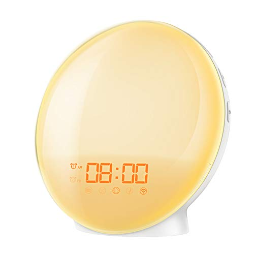 AMIR New Wake-Up light Sunrise Alarm Clock, 7 Colors Mood Atmosphere Lamp, Dual Alarms Bedside Night Light with FM Radio, Digital Clock with 7 Natural Sounds, Sunrise and Sunset Simulation for Bedroom