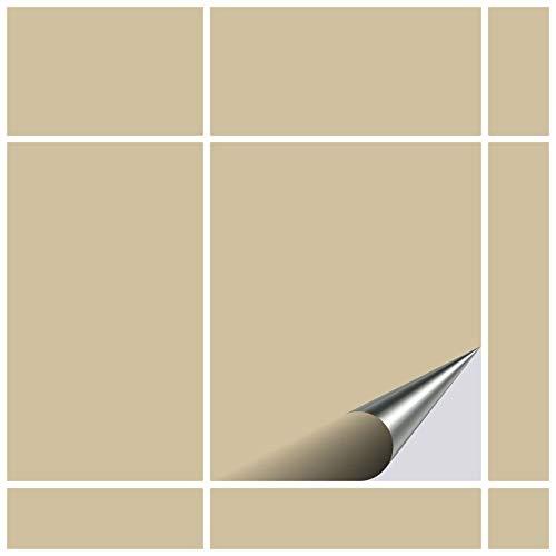 FoLIESEN Fliesenaufkleber 20x25 cm - Fliesen-Folie Bad - Klebefolie Küche - 15 Klebefliesen, Beige glänzend