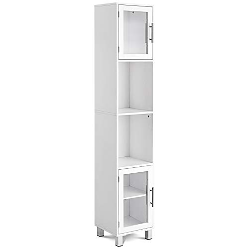GLACER Bathroom Tall Storage Cabinet, Free Standing Bathroom Floor Cabinet with Two Open Shelves and Storage Compartments with Tempered Glass Doors, 13 x 12 x 71 inches (White)