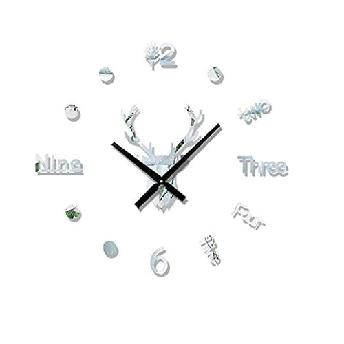 Etiquetas Engomadas de la Pared del Espejo 3D Reloj de Pared Grande Creativo de la Cabeza de Ciervo de DIY,Reloj de Cuarzo Art Decal Sticker Sala de Estar...