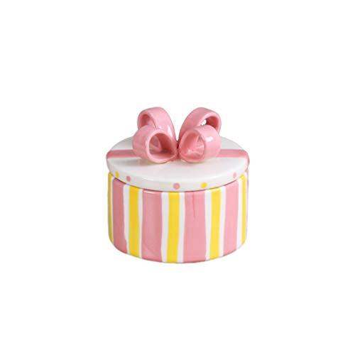TOPBATHY Boîte à Bijoux en Céramique Pot de Rangement en Porcelaine Boîte à Bonbons pour Anneau de Bureau Bracelet Outils de Maquillage Organisateur de Salle de Bain (Forme de Gâteau Rose Taille S)