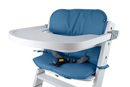 Tinydo® Universal Hochstuhl-Sitzkissen optimal für Timba Safety 1st. und alle gängigen Treppenhochstühle - 2teilg. Set mit Memory-Schaum Sitzverkleinerer-Auflage für Babystühle rutschfest (Blau)