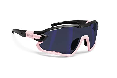 BERTONI Gafas Ciclismo Running MTB Esquí Tennis Padel Polaridas Fotocromaticas Mod. Quasar (Negro-Rosa/Espejo Azul)