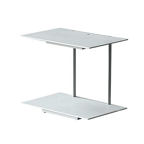 lei shop Modern Side Table,Mobile C Shaped end Table With Detachable Casters,Suitable For Bedroom And Living Room,55x36x47cm