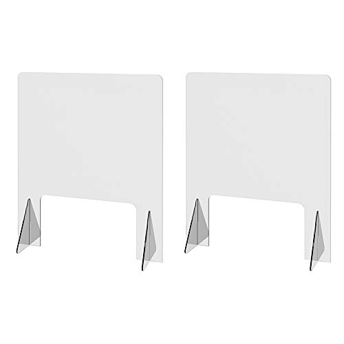 "Sneeze Guard 24"" x 30"", Freestanding Countertop, 16"" x 9"" Window, For Cashiers, Receptionist, Estheticians, Clerks – Use in Retail, Offices, Pharmacies, Medical Clinics, Nail Salons, Hotels (Pkg of 2)"