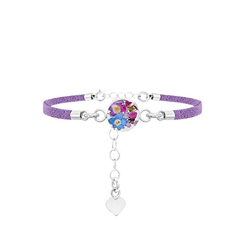 Shrieking Violet Funky Bracelet - Purple 'Vegan suede' strap - Sterling silver Round with purple flowers