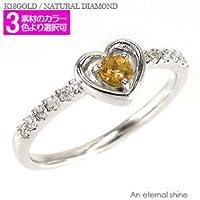 [エターナルジェム] シトリントパーズ ダイヤモンドリング 0.1ct 18金 一粒 ハート ピンキーリング ファランジリング 指輪 レディース K18ホワイトゴールド 15