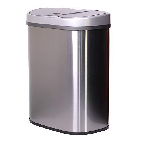 STC 70   Cubo de basura con sensor de movimiento, 70 l, de acero inoxidable, recipiente automático con sensor de infrarrojos, 2 tanques (35 35 litros), para residuos reciclables