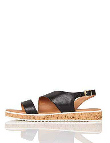 Marca Amazon - find. Assymetric Cork Sole Leather - Sandalias con plataforma plana Mujer