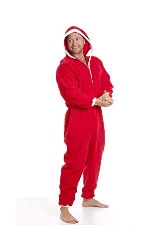 Herren Schlafanzug-Overall aus Fleece - Mit Taschen - Rot/weiß - Größen S-5XL XXXLarge