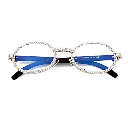 Moda Pequeño Diamante Redondo Gafas de Sol Hombres Nuevo Lujo Transparente Transparente Mujeres Oval Cristal Gafas de Madera Rhinestone Oculos (Color : 2, Size : G)