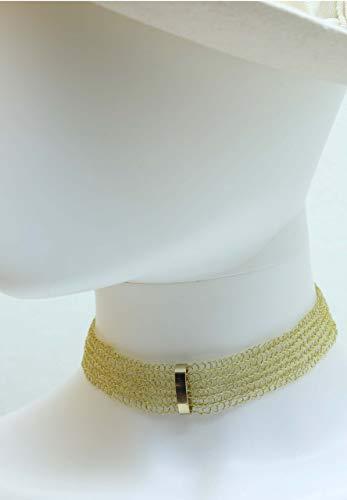 Choker, Halsband, Kette, Halskette, Choker aus Draht mit Eyecatcher, Gold-Choker, Chokerkette, Choker in Gold