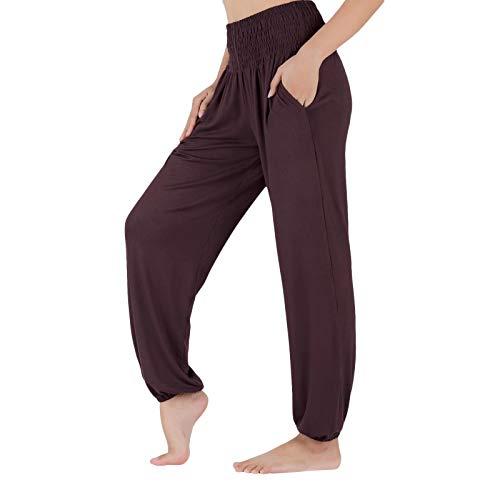 Lofbaz Pantalon de Yoga pour Femmes Pantalons de Survêtement Taille Haute Joggers dEntraînement Pyjamas de Maternité Leggings Café M