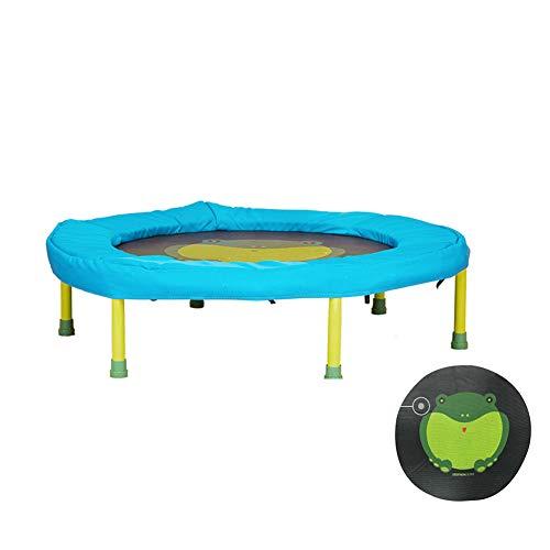 SHXF 35in Minitrampolin für Kinder, Faltendes Trampolin für Innen Junge Mädchen Fitness Spielzeug Netter Frosch, der Matte springt Rebounder Sprungtrainer Ruhig und sicher Blau