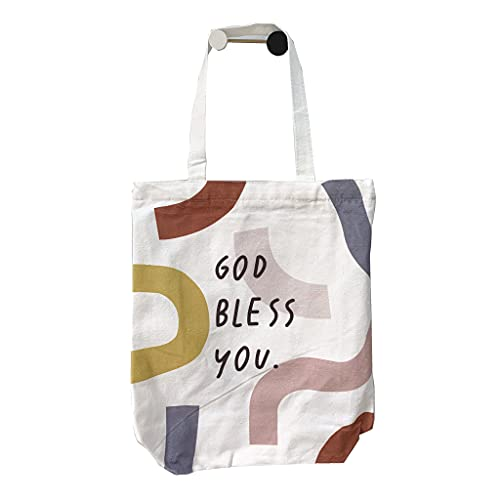 """Wgniip Canvas Tote Bag for Women, Large Capacity Reusable Grocery Bags with Handles and Zipper Suitable to Use as a Shopping Bags, Utility Bags, Gym Bags, Travel Bags 13x15in """"GOD Bless You"""""""