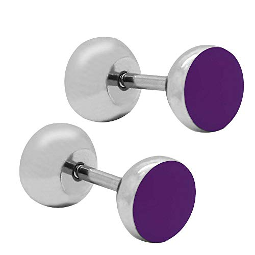 tumundo 2 Piezas Pendientes Aretes Fakeplug Falso Plug Piercing Fake Túnel Glitter Color Acero 7mm Oreja Enchufes, modelo:mod 16