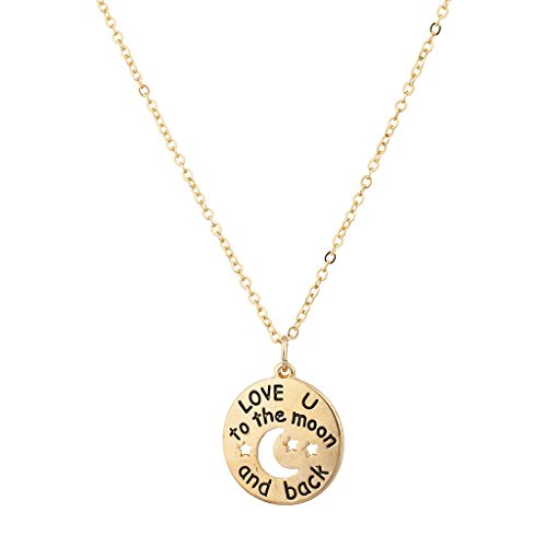 Lux Accessories Goldtone Love U to The Moon and Back Charm Pendant Necklace