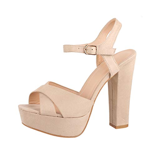 Elara Damen Pumps Bequeme Peep Toe Pumps Trendige Plateau High Heels Chunkyrayan AT0985 Beige-39