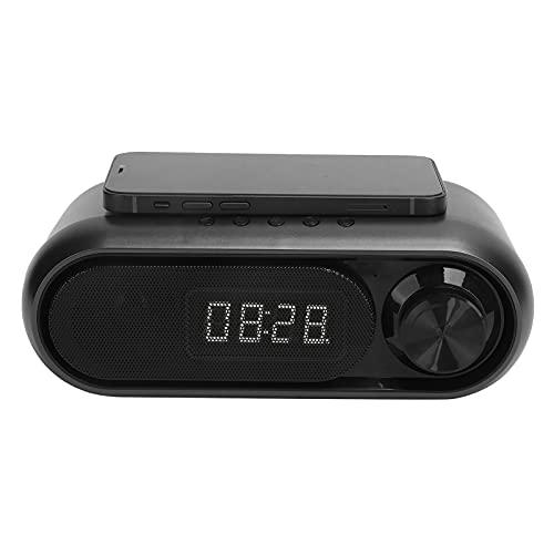 PUSOKEI Altavoz Reloj USB, Cargador inalámbrico Digital Radio FM para teléfonos móviles, Reloj Despertador Bluetooth con reducción de Ruido para Oficina en casa, con Cable de Audio