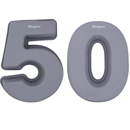 3D Large Number Cake Mould,Silicone Baking Letter Ectangle Novel Cake Tins Stencil Perfect in Large Numbers for 5/50th Birthday or Anniversary