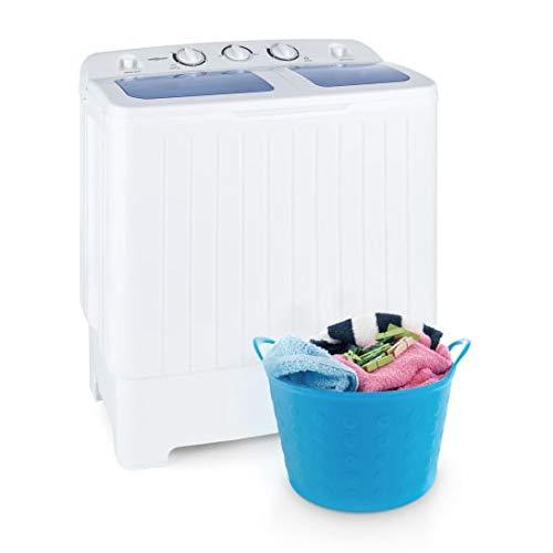 OneConcept Ecowash XL White Line - Mini machine à laver, Essoreuse 3 kg et 100W, Capacité de lavage de 4,2kg et 300W, 2 programmes, Faible bruit/consommation énergétique/consommation d'eau, Blanc