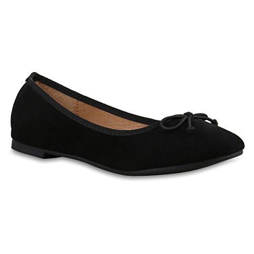 stiefelparadies Klassische Damen Ballerinas Flats Leder-Optik Lack Glitzer Schleifen Ballerina Übergrößen Schuhe 132722 Schwarz Matt 37 Flandell