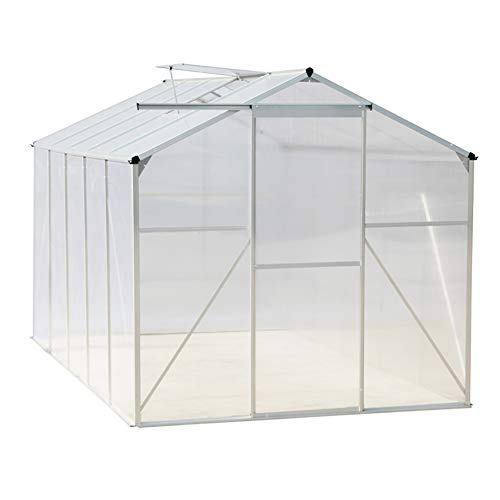 FIDOOVIVIA Polycarbonate Garden Greenhouse Rustproof Aluminum Frame Growhouse Sun Room for Plants Vegetable Garden & Outdoor with Window, Sliding Door(4 Ft x 6 Ft, Transprant)
