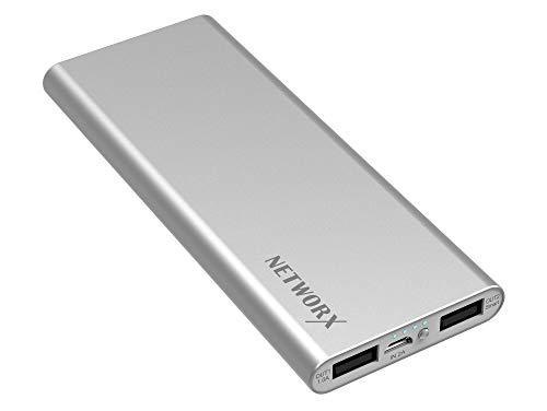 Networx Slim Power Bank 9000 mAh, Zusatzakku für Smartphones/Tablets, silber