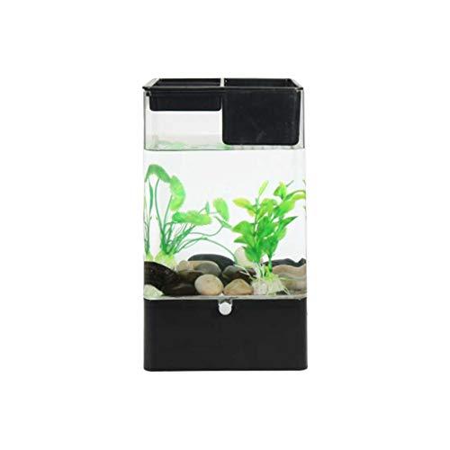 Hjd Aquarium Kunststof Goldfish Bowl desktop aquarium mini transparant kweekbak voor vissen, met gekleurde LED-lichten aquaria