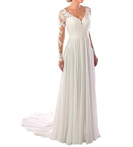 SongsurpriseMall Hochzeitskleider Chiffon Spitze V Ausschnitt Brautkleider große Größen Brautkleid Langarm Weiß EU38