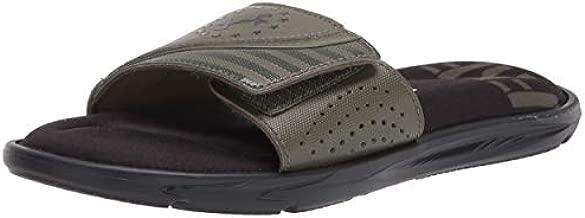 Under Armour Men's Ignite Freedom Slide Sandal, Black (002)/Marine OD Green, 13