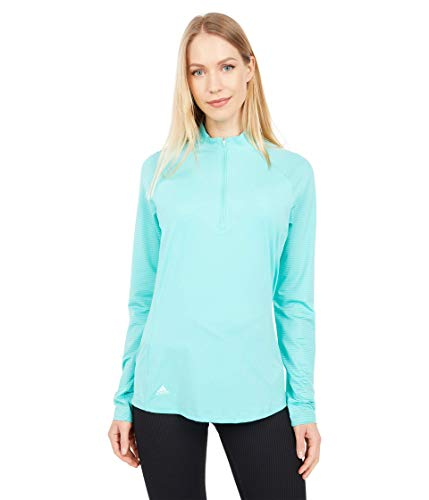 adidas Golf Women's Uv Primegreen Long Sleeve Polo Shirt, Acid Mint, Medium