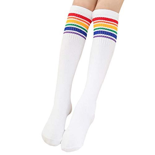 Cocohot Hohe Kniestrümpfe, Kinder-Regenbogen-Streifensocken über den Kniestrümpfen, Sportsocken Studenten lange Socken (Weiß, M)