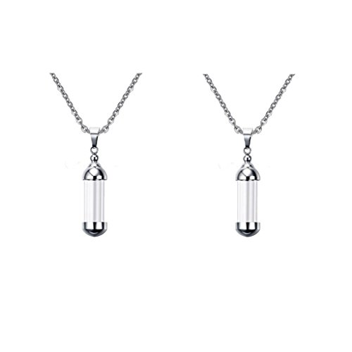 Sharplace 2pcs Stainless Steel Clear Cylinder Cremation Urn Necklace Openable Container Memorial Pendant Necklace Jewelry for Women & Men