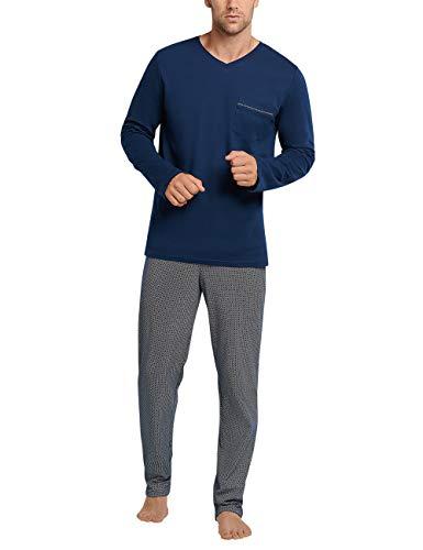 Schiesser Herren lang V-Ausschnitt Zweiteiliger Schlafanzug, Nachtblau, 102