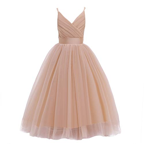 Glamulice Christmas New Year Flower Girl Dress Kids Lace Spaghetti Strap Tulle Dresses Wedding Bridesmaid Pageant Party Dance Ball Gown Rose Gold Princess Kids Prom Gown(7-8 Years, V-Golden)