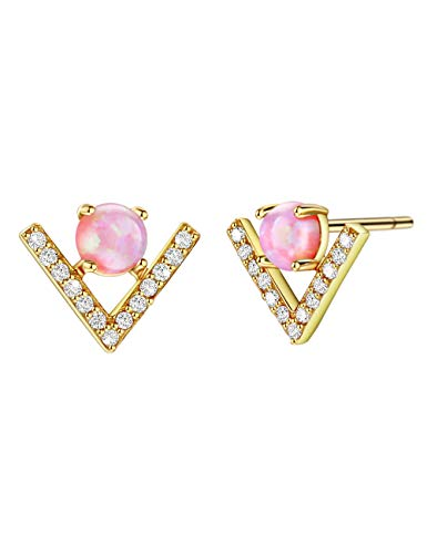 Dainty Opal Stud Earrings 18K Gold Plated Silver Pink Opal Earring with CZ Chevron Accents 18K Gold Plated Jewelry for Women Girls