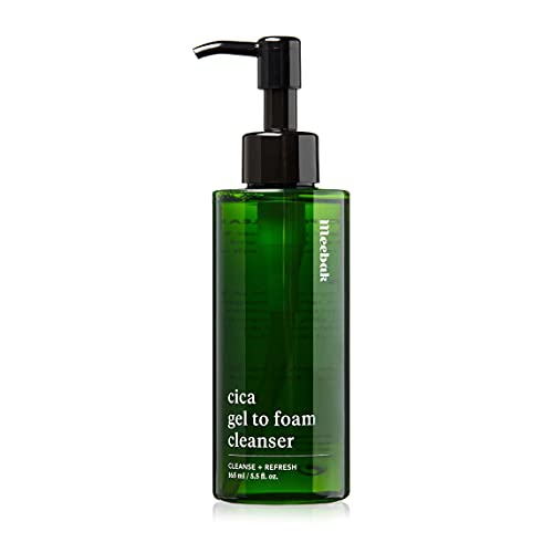 Cica Facial Cleansing Gel for Face Wash & Makeup Remover, Exfoliating, Acne, Oily Skin, Korean Foaming Gel Cleanser 5.5oz