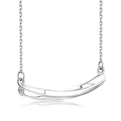 Aniu Classic Dainty Curved Tube Bar Minimalist Pendant for Women Girls, 925 Sterling Silver Smile Necklace, Christmas Birthday Anniversary Jewellery Gifts with Exquisite Box, 16' + 2' Extension Chain