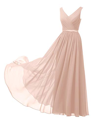 Alicepub V-Neck Pearl Pink Blush Bridesmaid Dresses Chiffon Long Maxi Formal Dress for Women Party Evening Sleeveless, US14