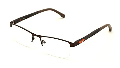 V.W.E. Men Half Rimless Rectangular Non-prescription Glasses Frame Clear Lens Eyeglasses (Brown)