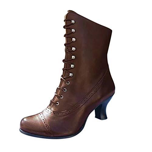 WHSHINE Damen Vintage Steampunk Schnürstiefel Brogue Mandel Zehen Leder Louis Heels Stiefeletten High Top Court Schuhe