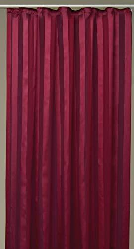 Arsvita Decoratieve gordijnen, gordijn, strepen, halftransparant Universalband 140x 175cm rood - bordeaux