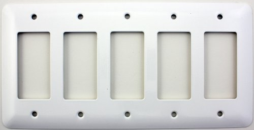 Mulberry Princess Style White 5 Gang GFI/Rocker Opening Switch Plate